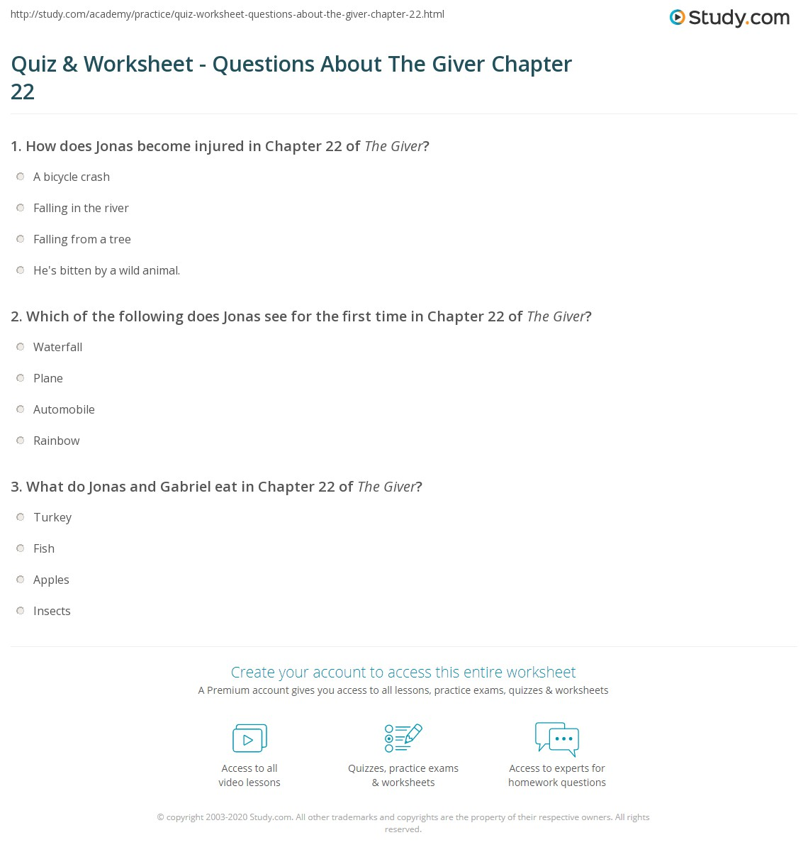 Print The Giver Chapter 22 Summary & Quotes Worksheet