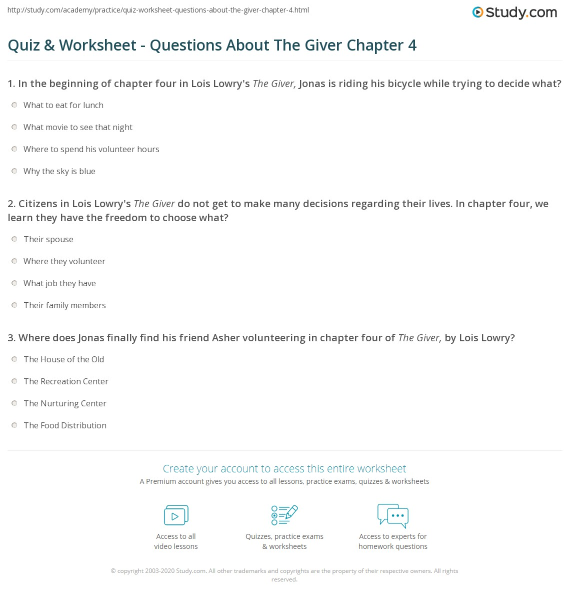 The giver comprehension questions with answers teaching resources.