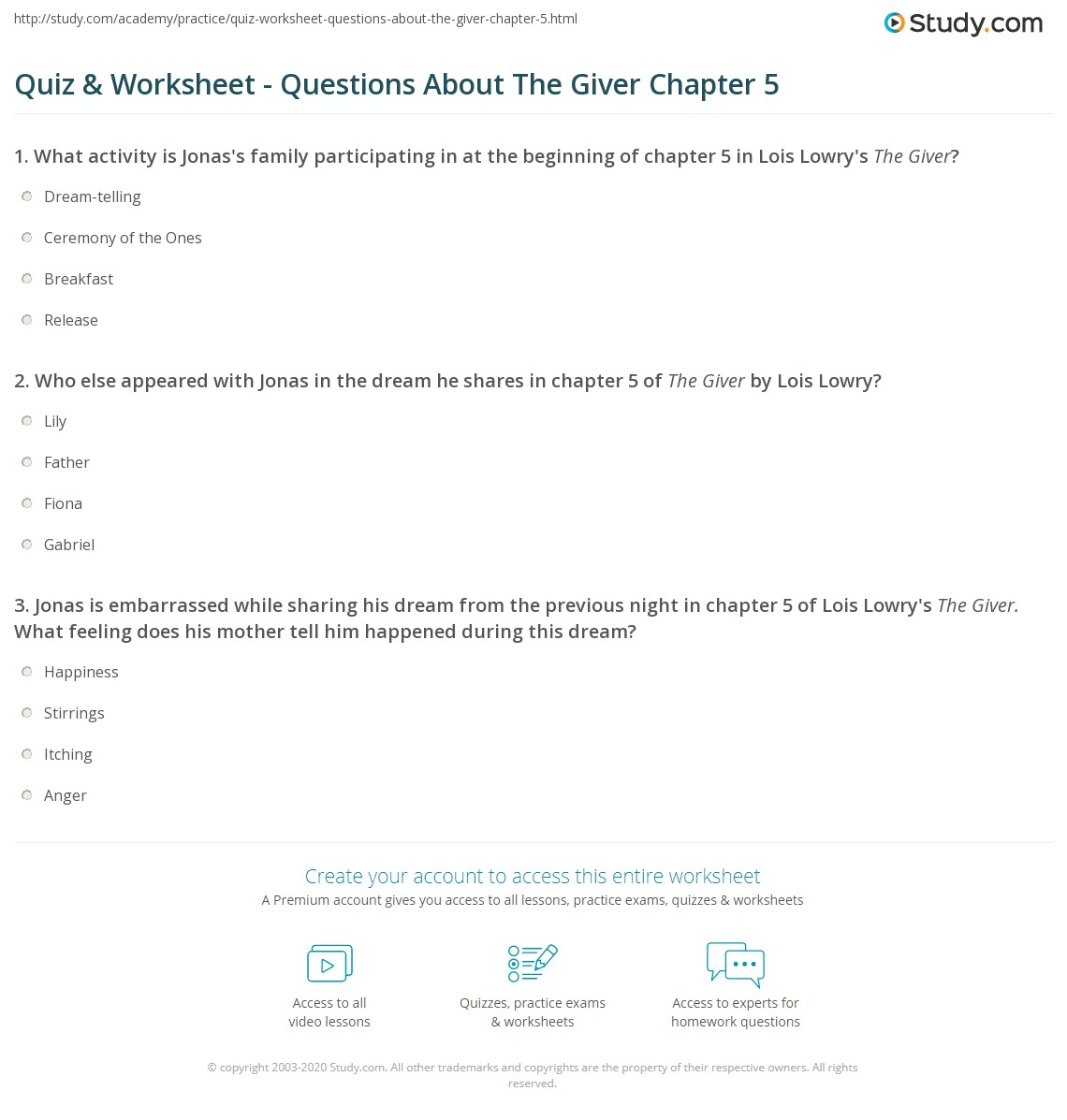 quiz  worksheet   questions about the giver chapter   studycom
