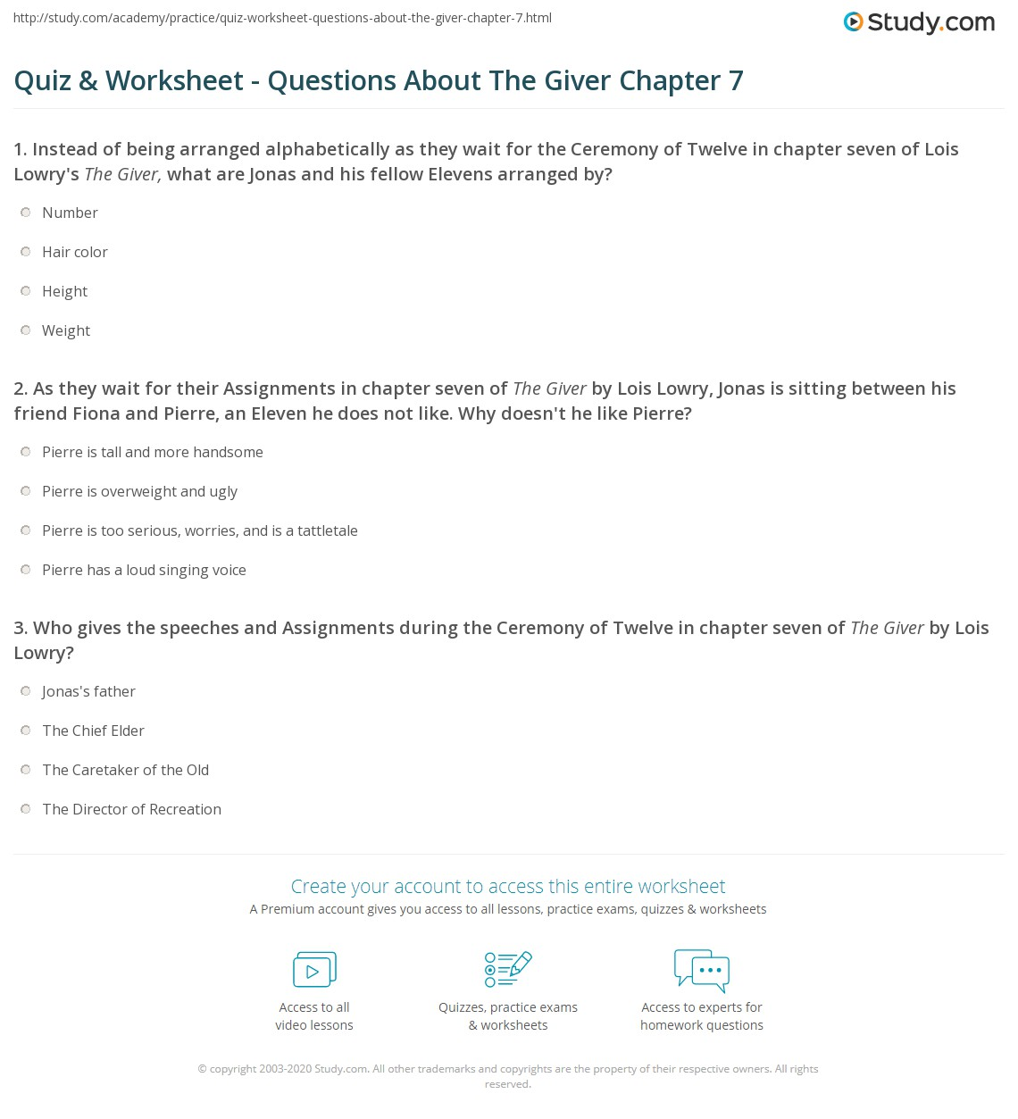 quiz worksheet questions about the giver chapter com as they wait for their assignments in chapter seven of the giver by lois lowry jonas is sitting between his friend fiona and pierre an eleven he does not