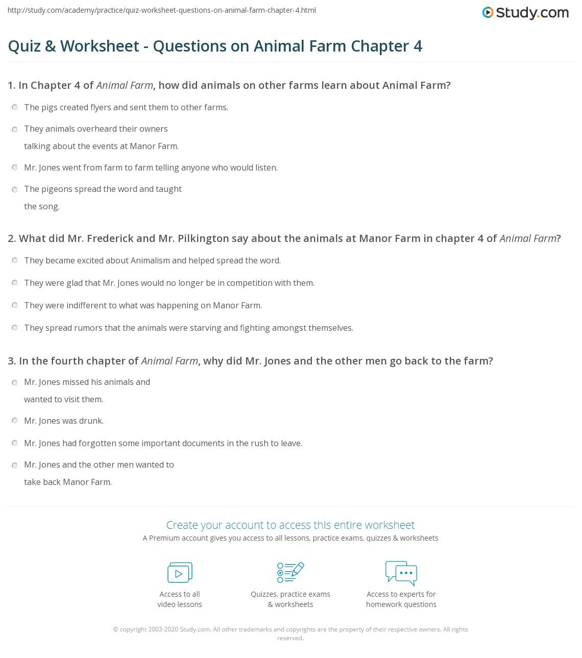 quiz worksheet questions on animal farm chapter com print animal farm chapter 4 summary worksheet