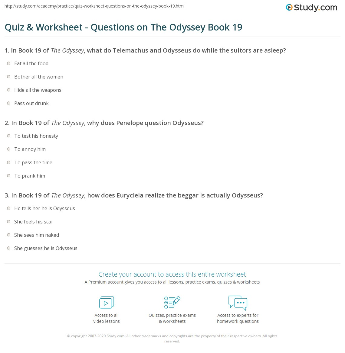 Print The Odyssey Book 19: Summary & Quotes Worksheet