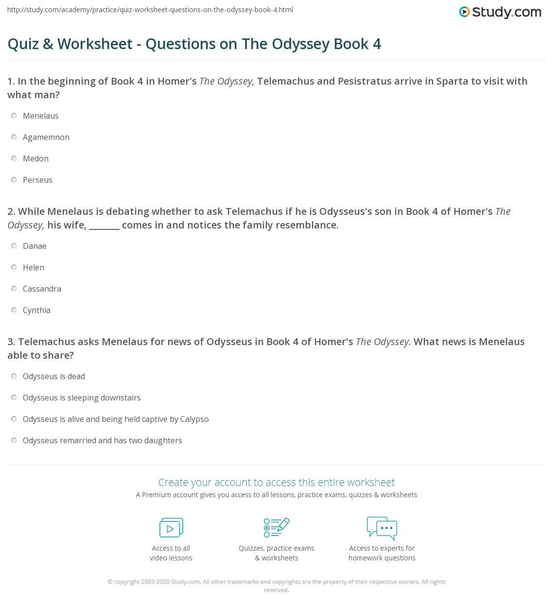 quiz worksheet questions on the odyssey book 4 study com rh study com the odyssey film study guide answer key Odyssey Answer Key Book