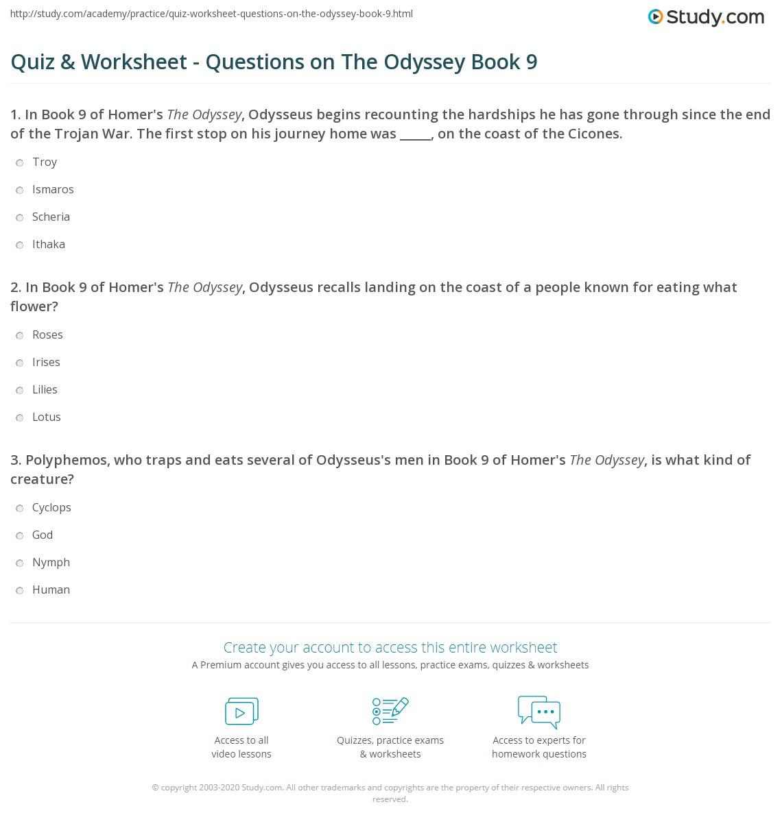 quiz worksheet questions on the odyssey book 9. Black Bedroom Furniture Sets. Home Design Ideas