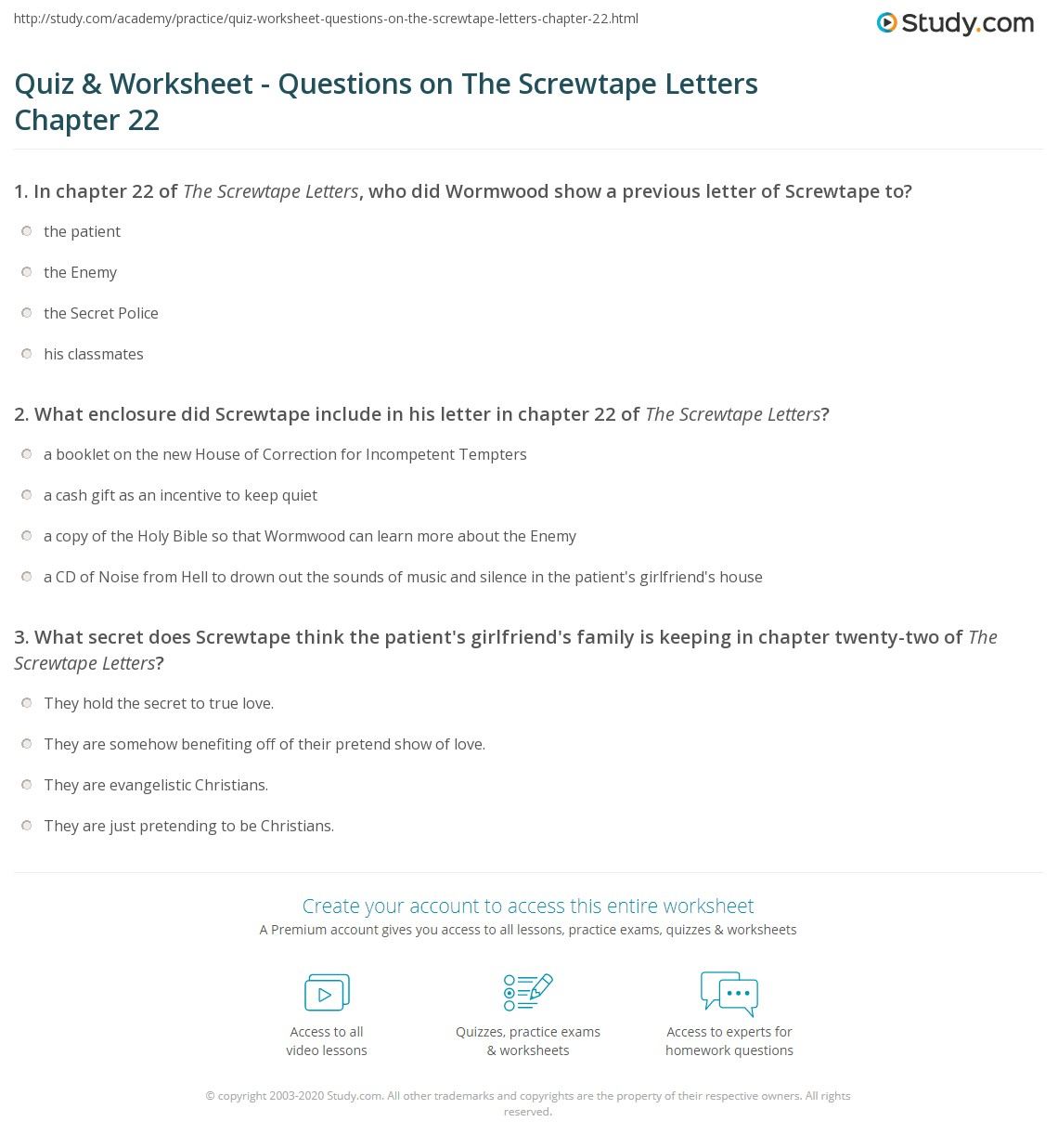 Quiz & Worksheet Questions on The Screwtape Letters Chapter 22