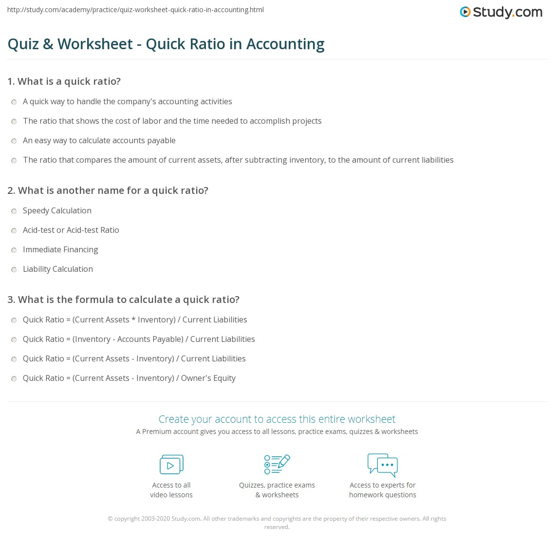Quiz & Worksheet - Quick Ratio in Accounting | Study.com