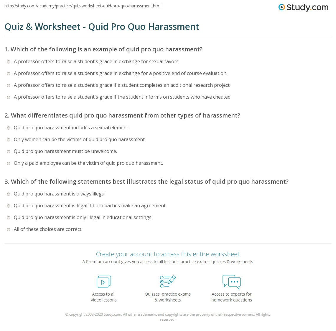 Quiz & Worksheet - Quid Pro Quo Harassment | Study com