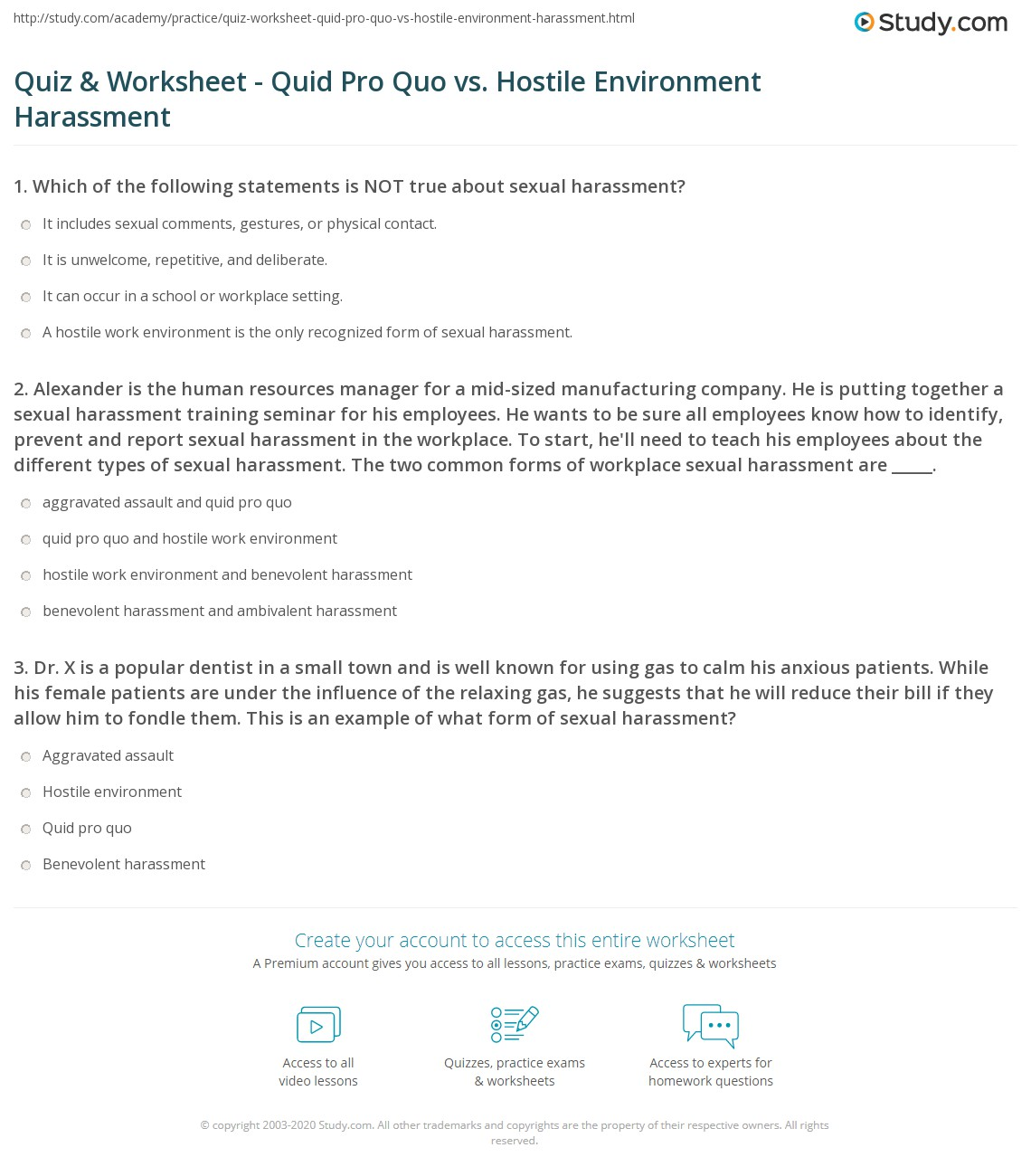 Sexual harassment quid pro quo and hostile environment meaning