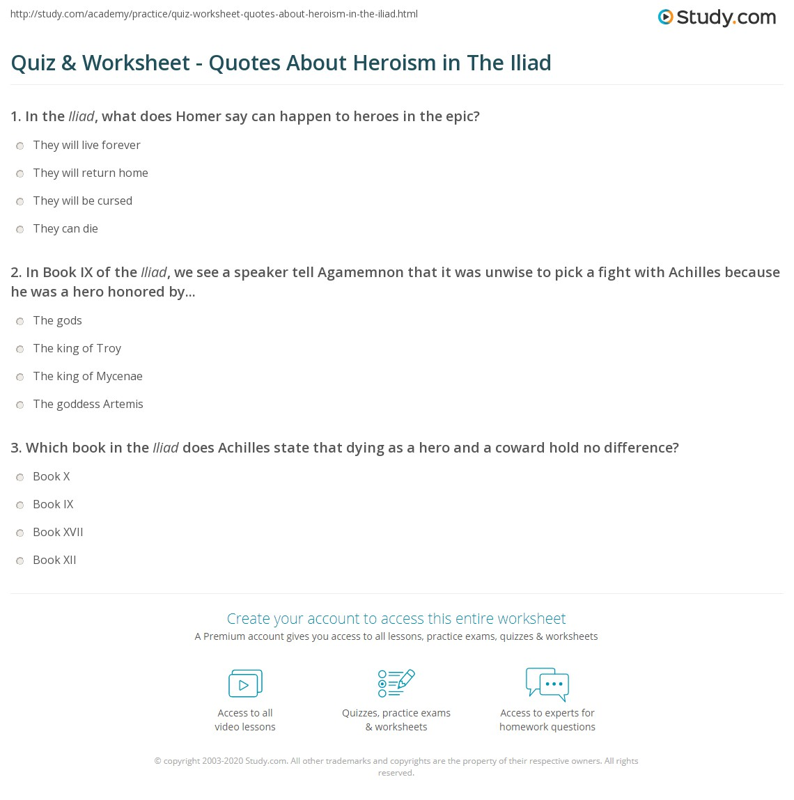 Quiz Worksheet Quotes About Heroism In The Iliad Studycom