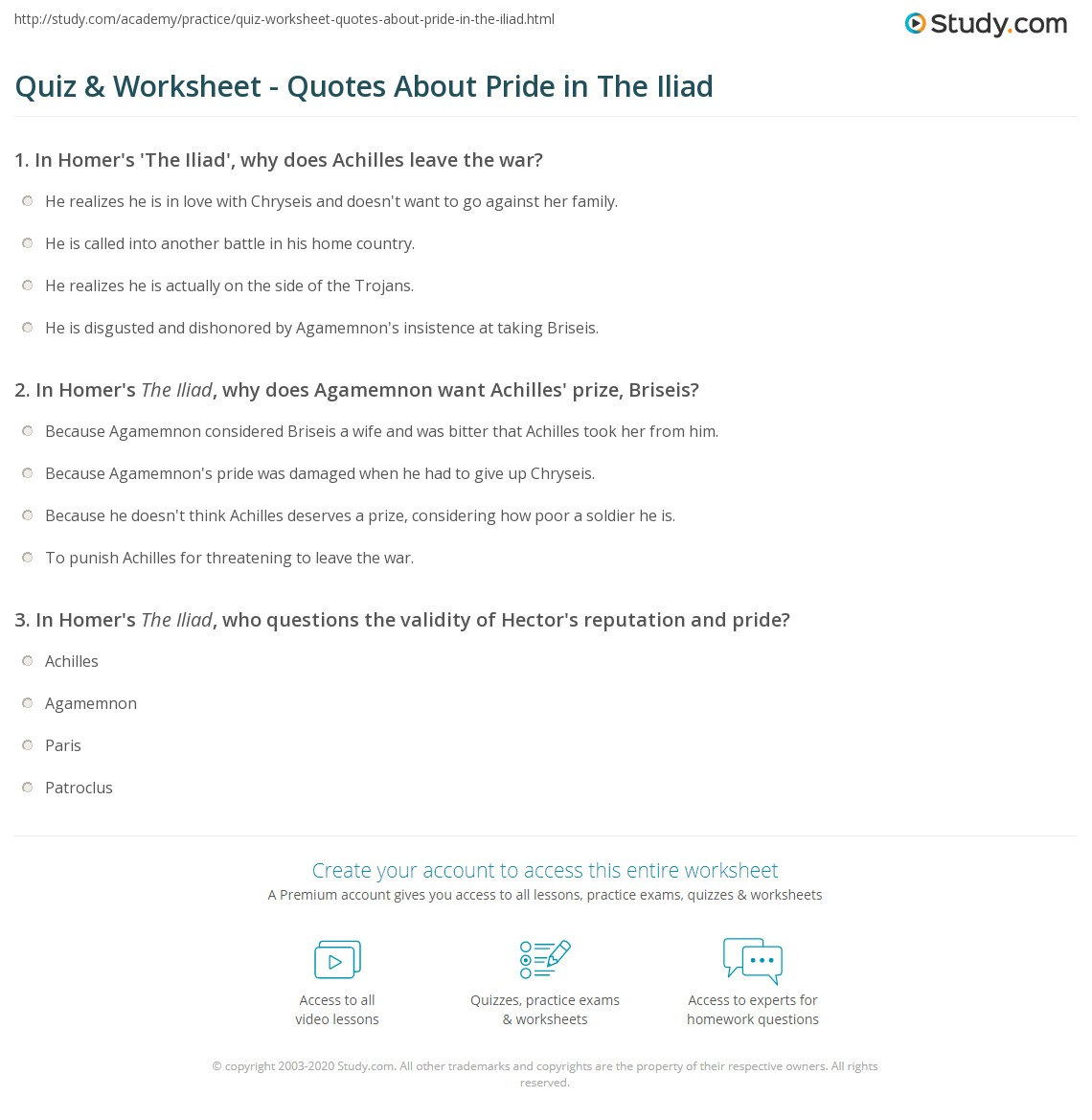 quiz worksheet quotes about pride in the iliad com