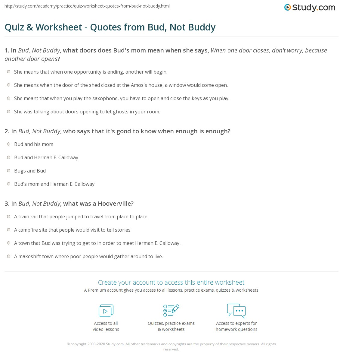 Quiz Worksheet Quotes From Bud Not Buddy Studycom