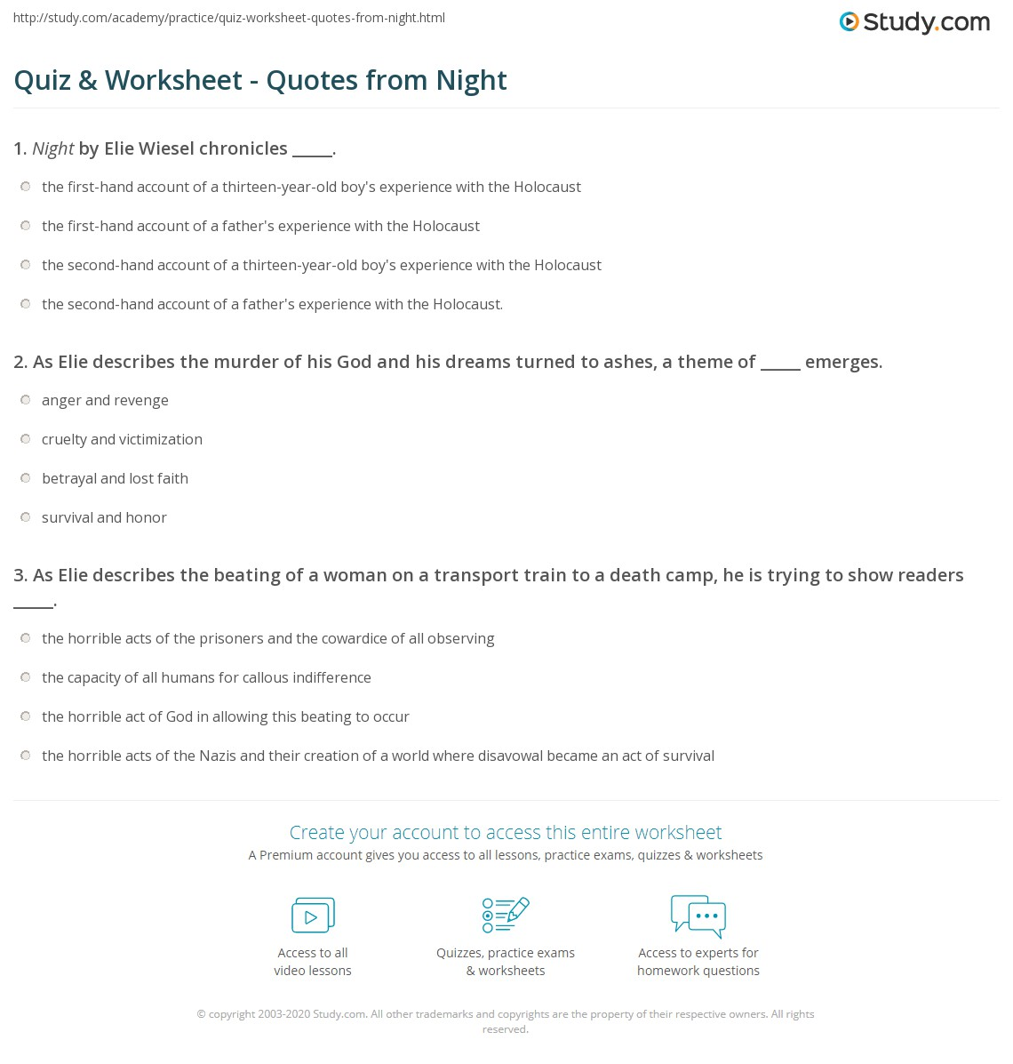 Night By Elie Wiesel Quotes Amazing Quiz & Worksheet  Quotes From Night  Study