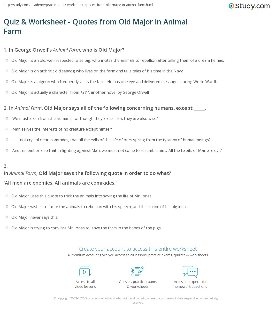 Quiz Worksheet Quotes From Old Major In Animal Farm Study Com