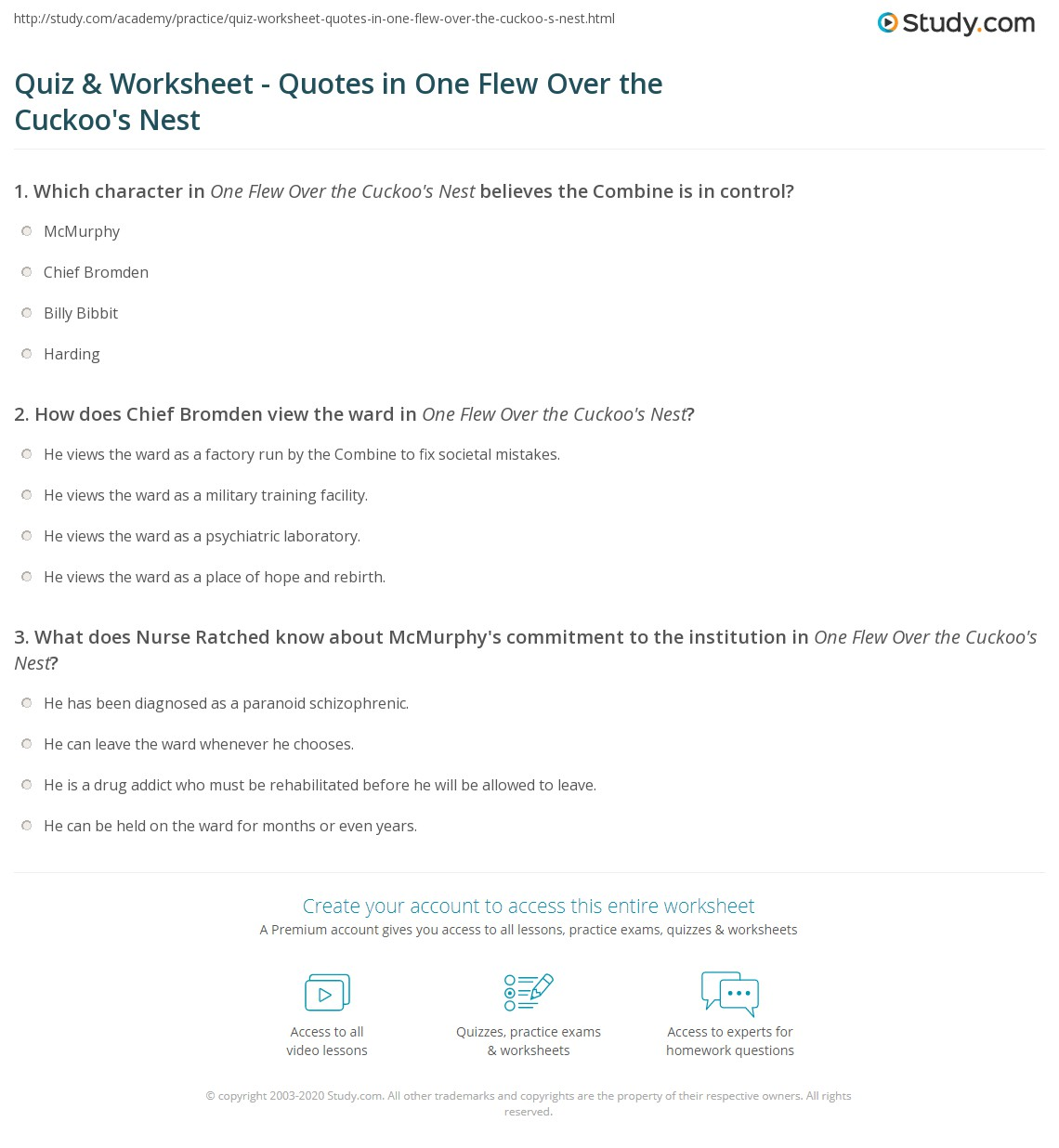 quiz worksheet quotes in one flew over the cuckoo s nest  print one flew over the cuckoo s nest book quotes examples analysis worksheet