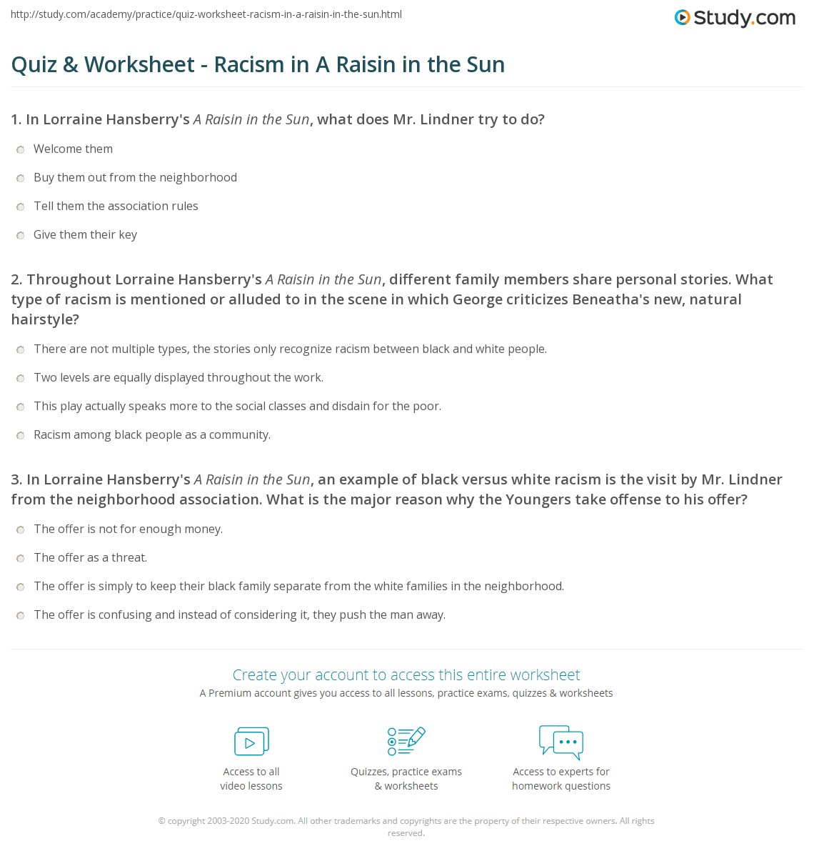 video quiz raisin in the sun