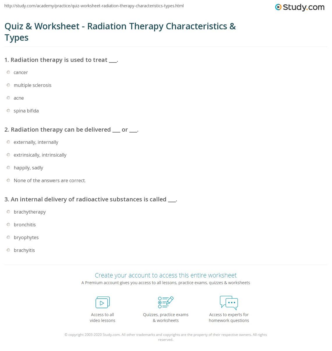 quiz & worksheet - radiation therapy characteristics & types | study