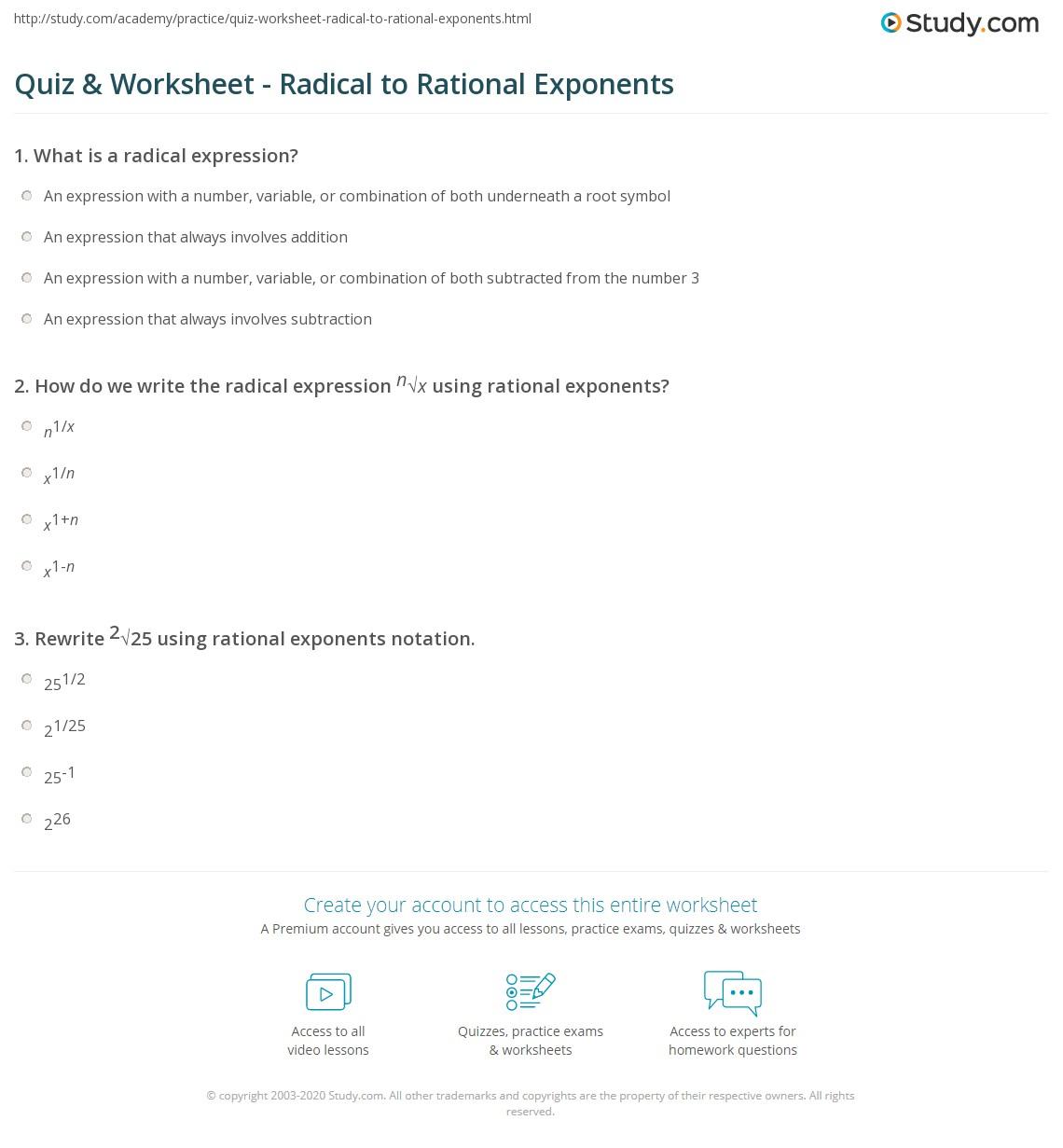 Quiz Worksheet Radical To Rational Exponents Study