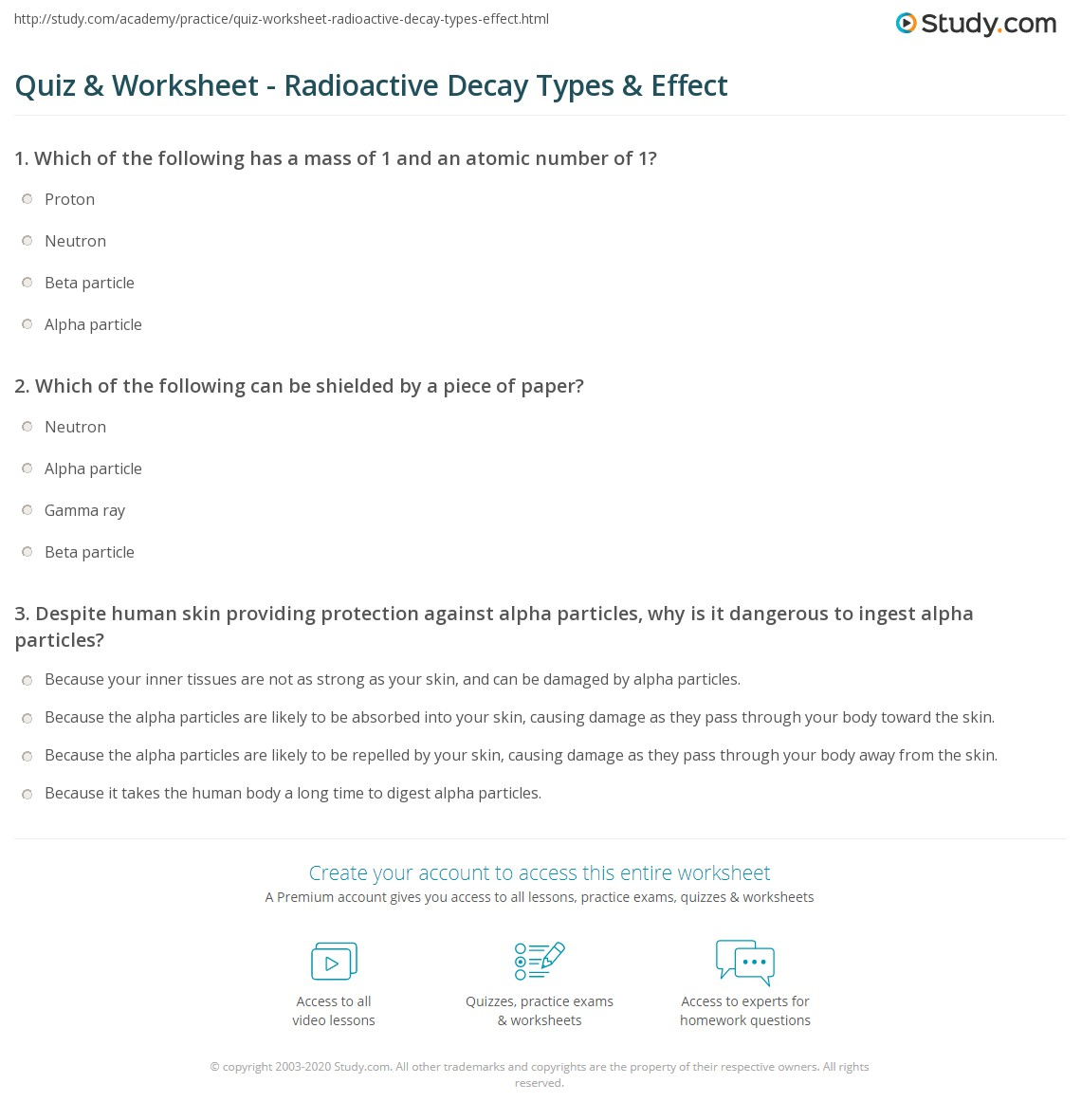 Quiz & Worksheet - Radioactive Decay Types & Effect  Study.com