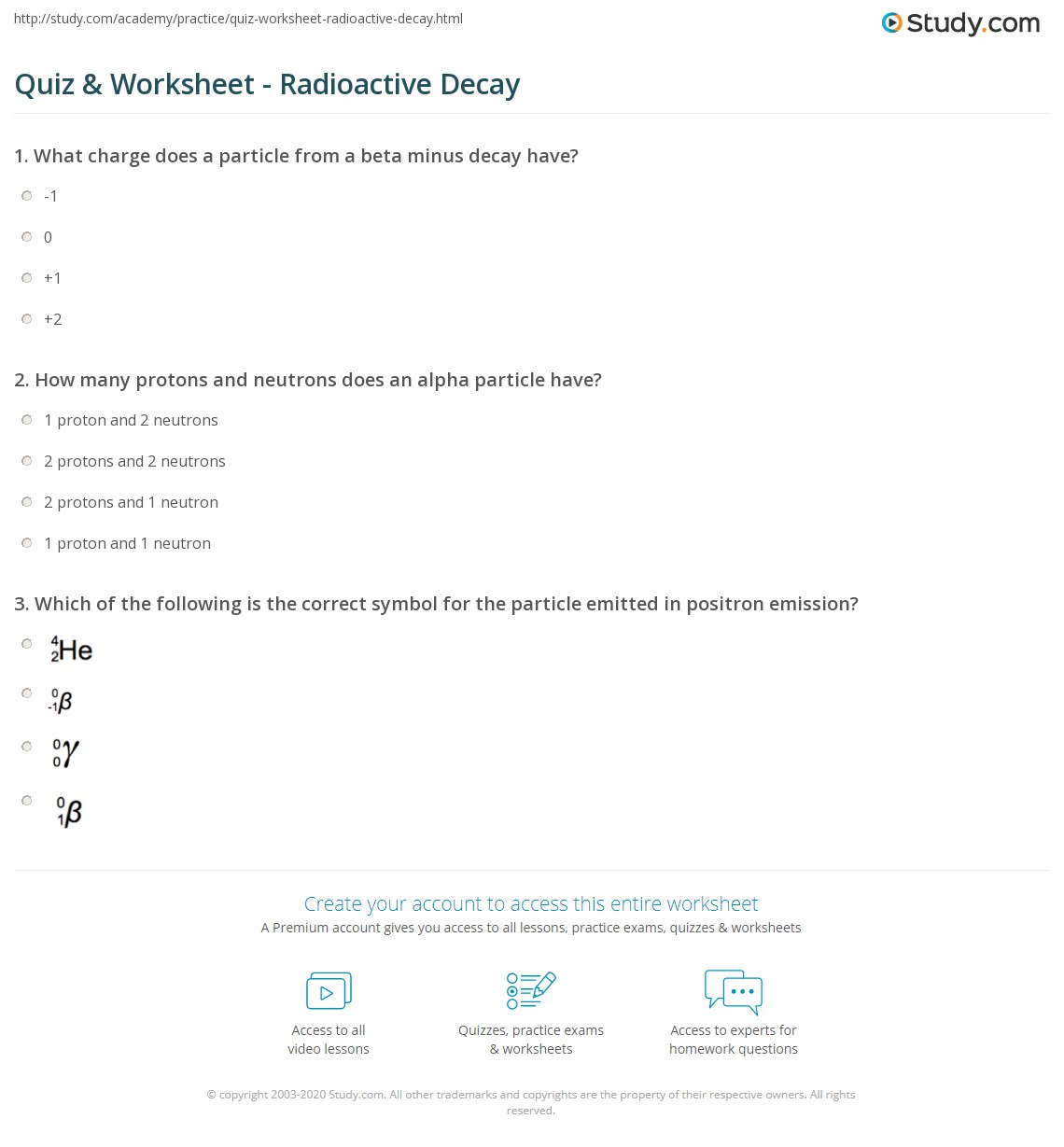 Quiz Worksheet Radioactive Decay Study