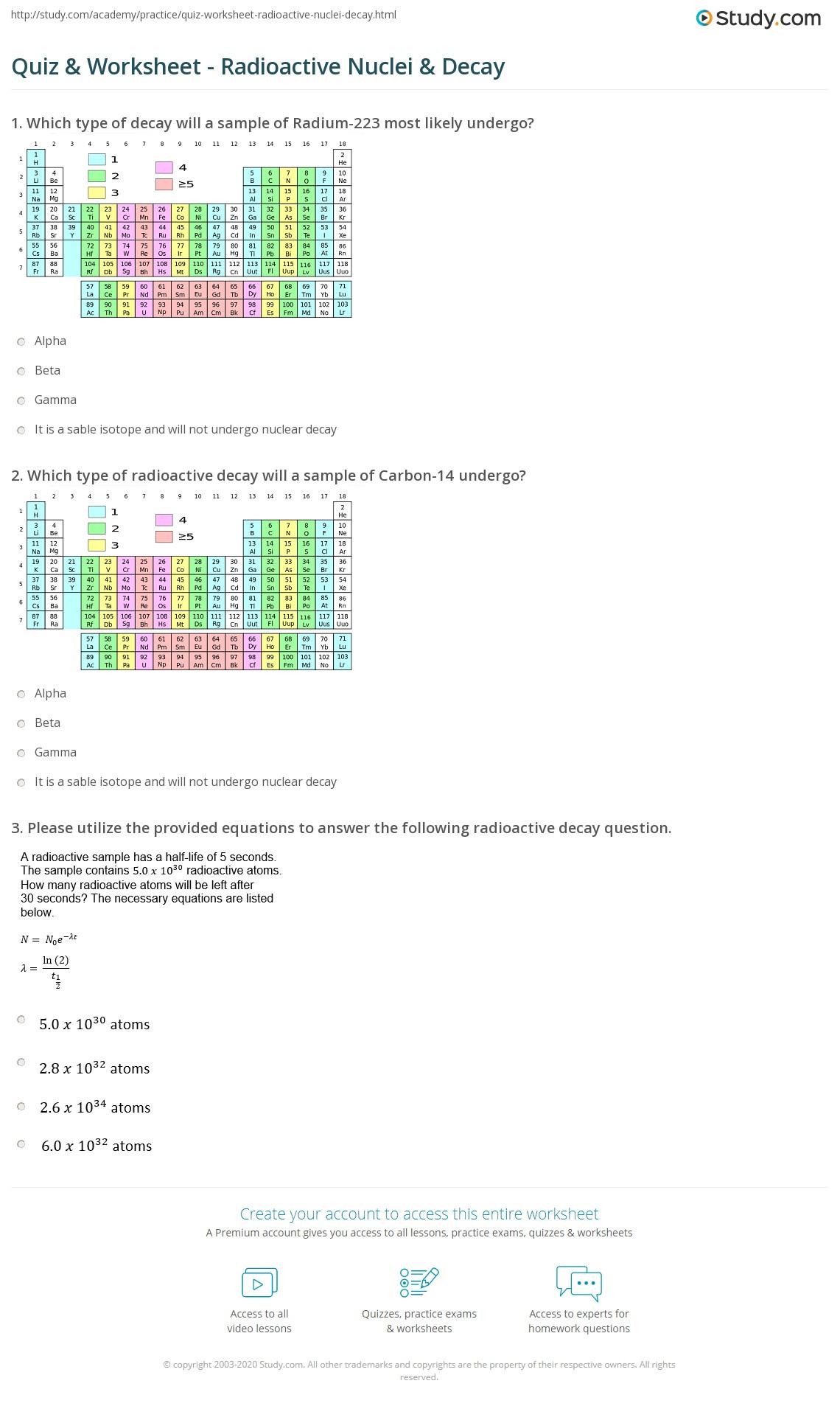 worksheet Radioactivity Worksheet quiz worksheet radioactive nuclei decay study com print making predictions about worksheet