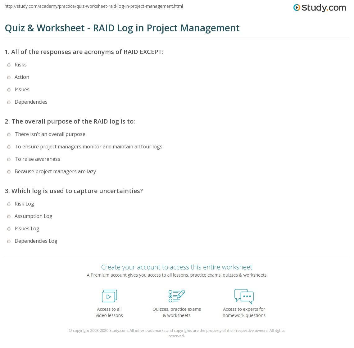 Quiz Worksheet Raid Log In Project Management Study