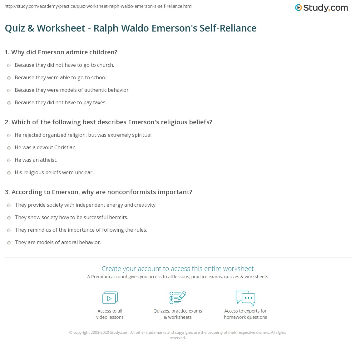 quiz worksheet ralph waldo emerson s self reliance com print self reliance ralph waldo emerson s transcendental essay worksheet