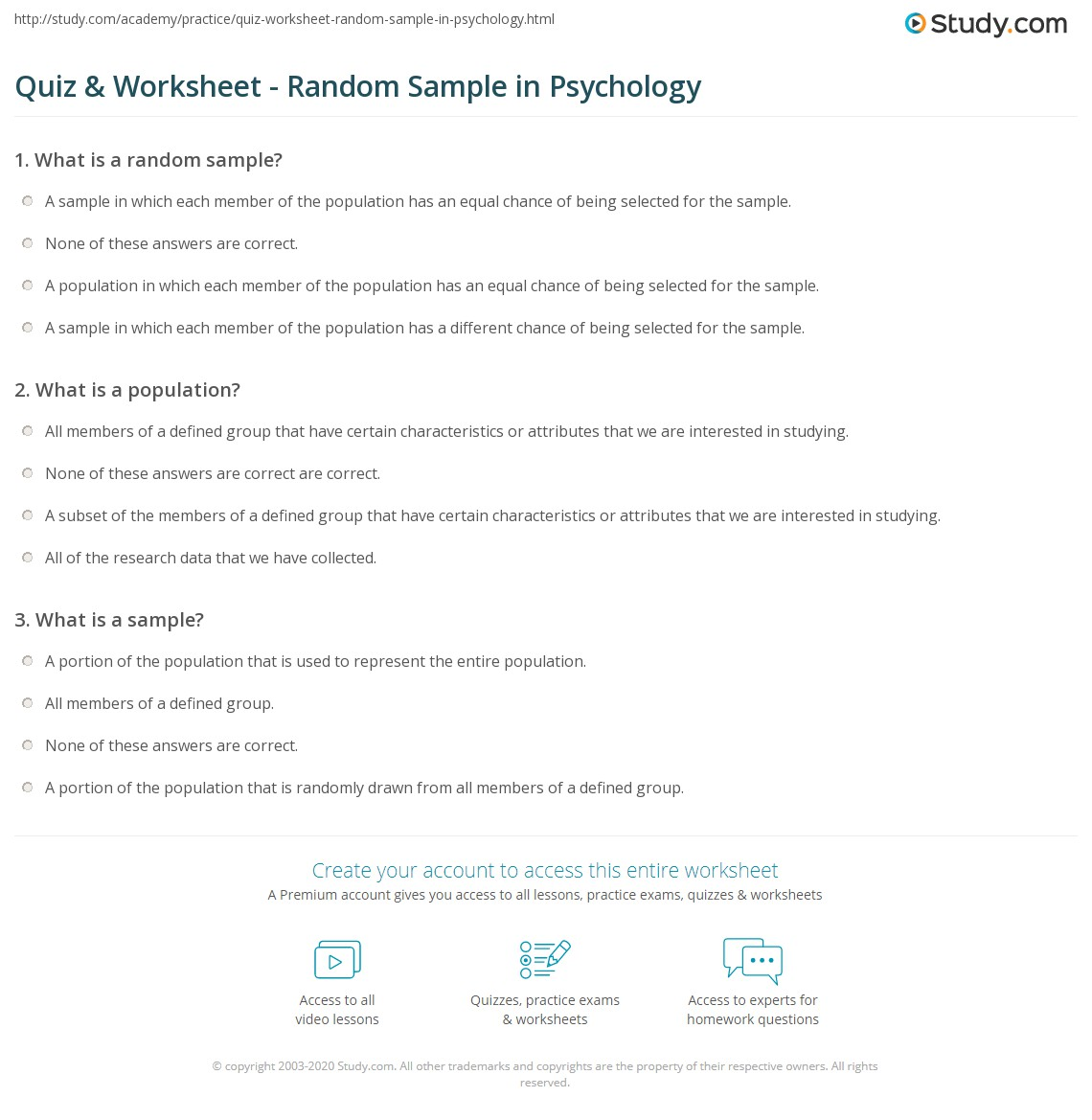 Quiz & Worksheet - Random Sample in Psychology | Study.com