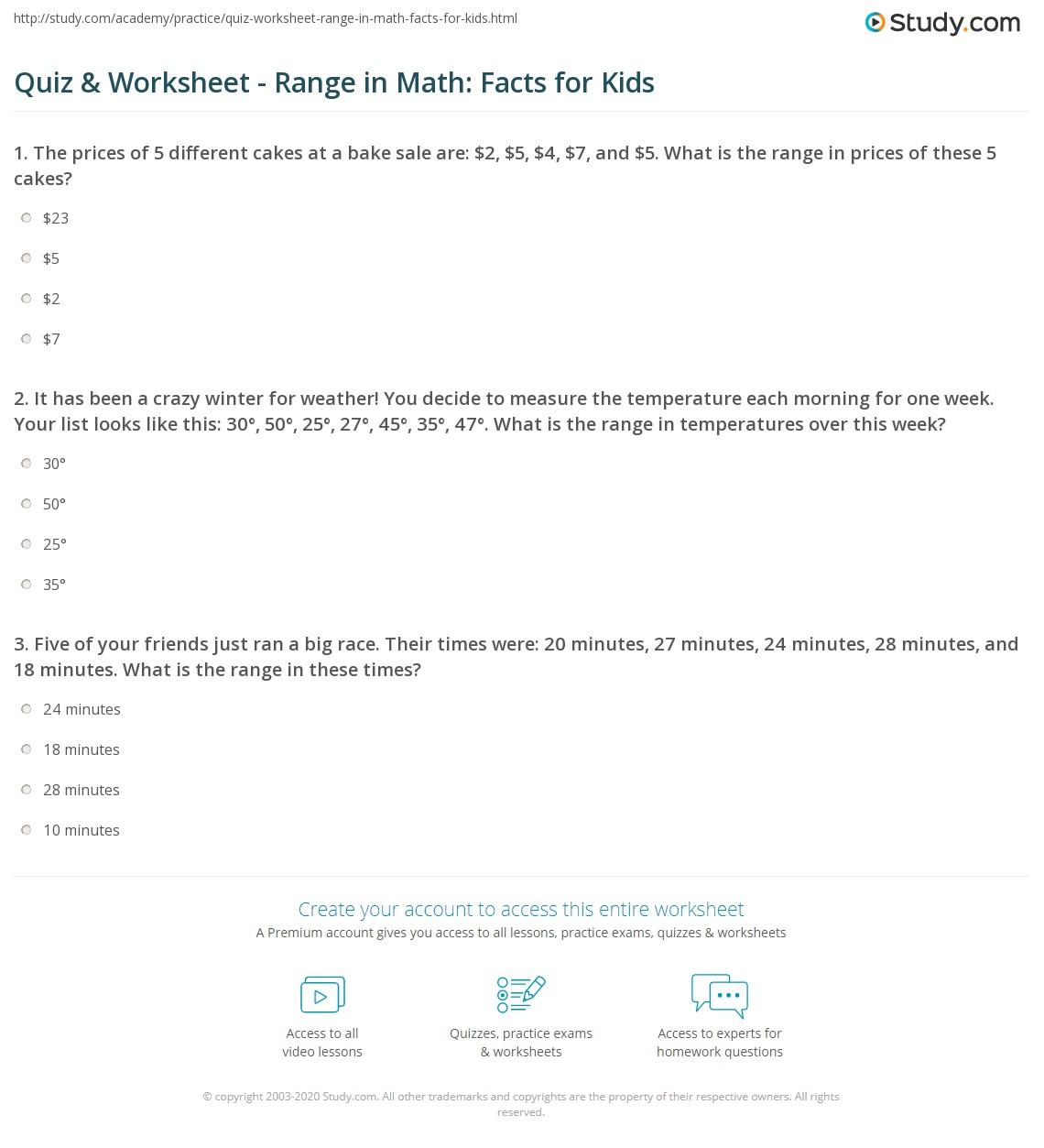 Quiz & Worksheet - Range in Math: Facts for Kids | Study.com
