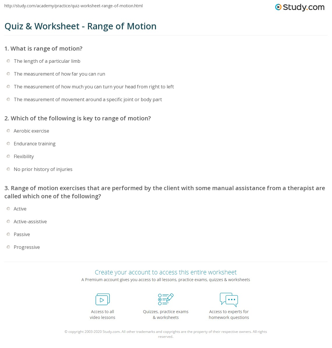 Worksheets Motion Worksheets quiz worksheet range of motion study com print what is rom definition types testing exercises worksheet