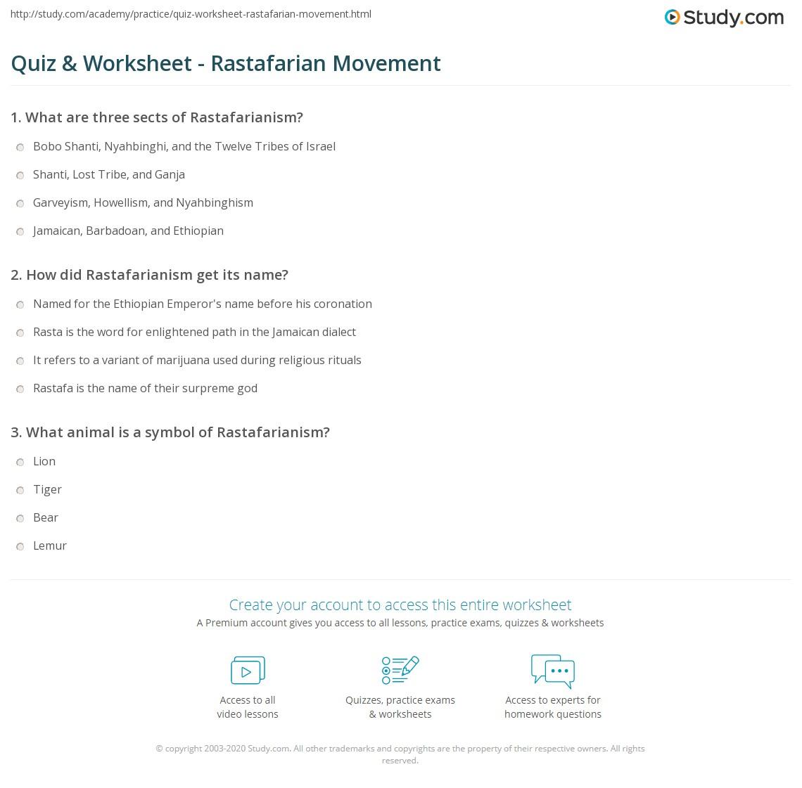 Quiz worksheet rastafarian movement study print rastafarianism movement symbols worksheet biocorpaavc Image collections