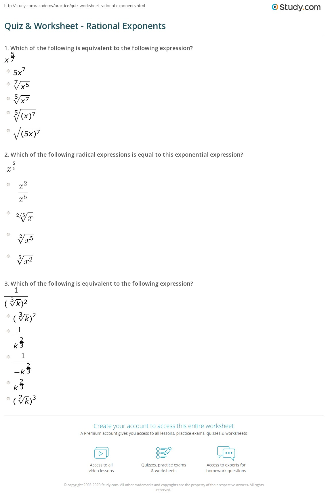 Quiz & Worksheet - Rational Exponents | Study.com