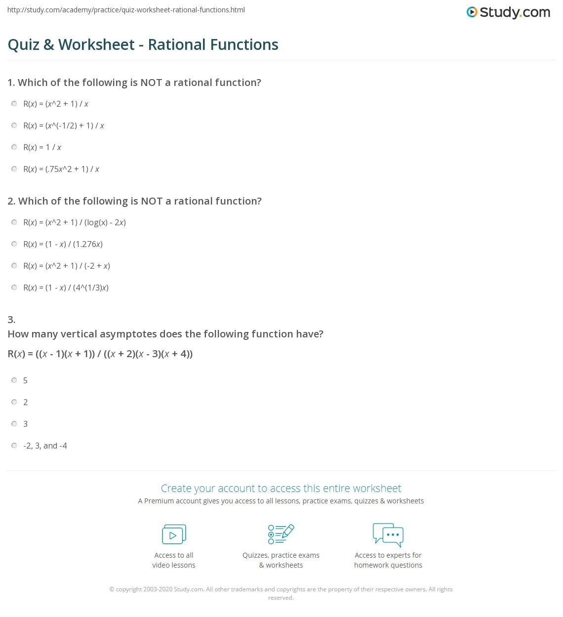 Quiz & Worksheet - Rational Functions | Study.com