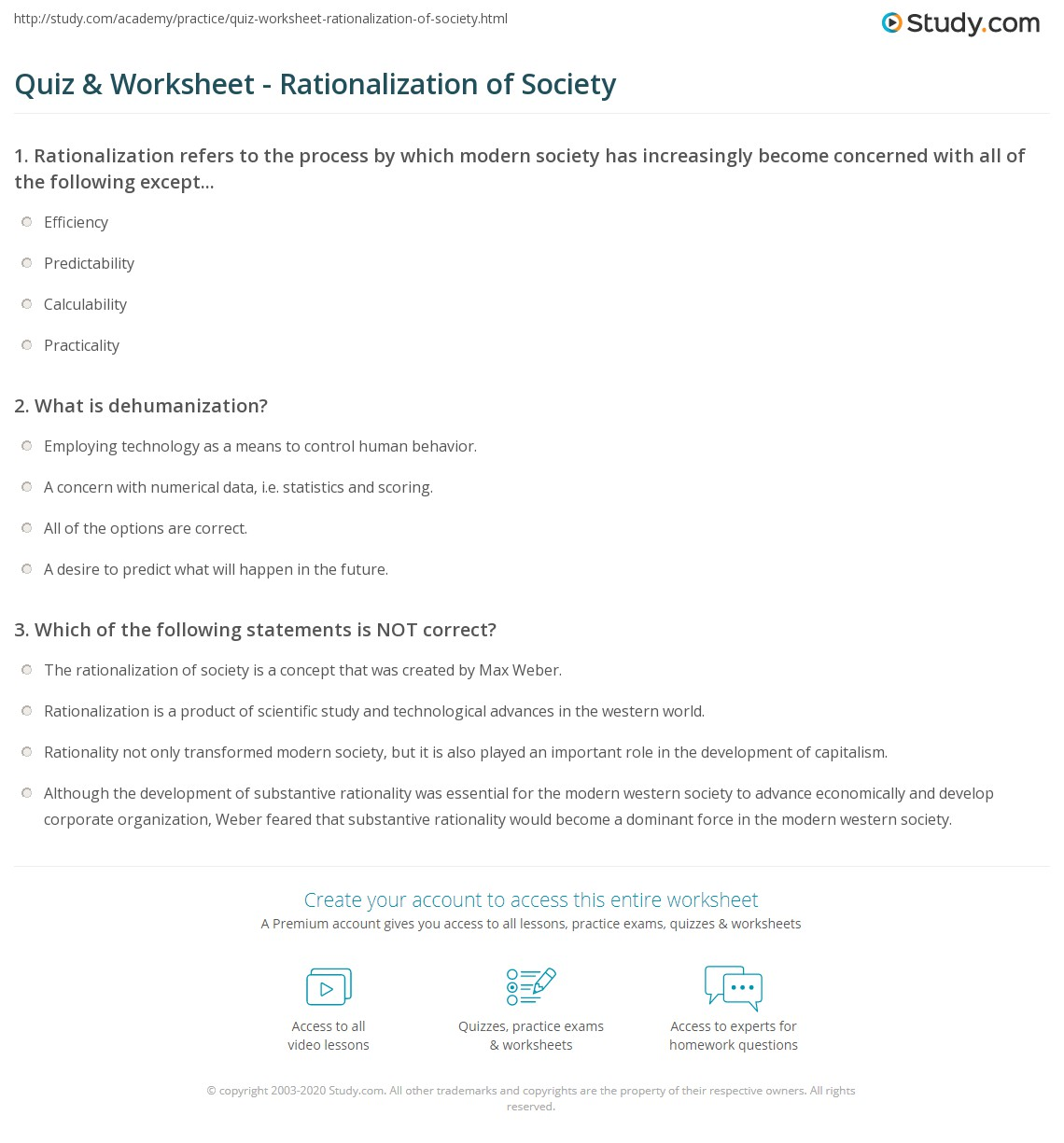 Quiz Worksheet Rationalization Of Society Study