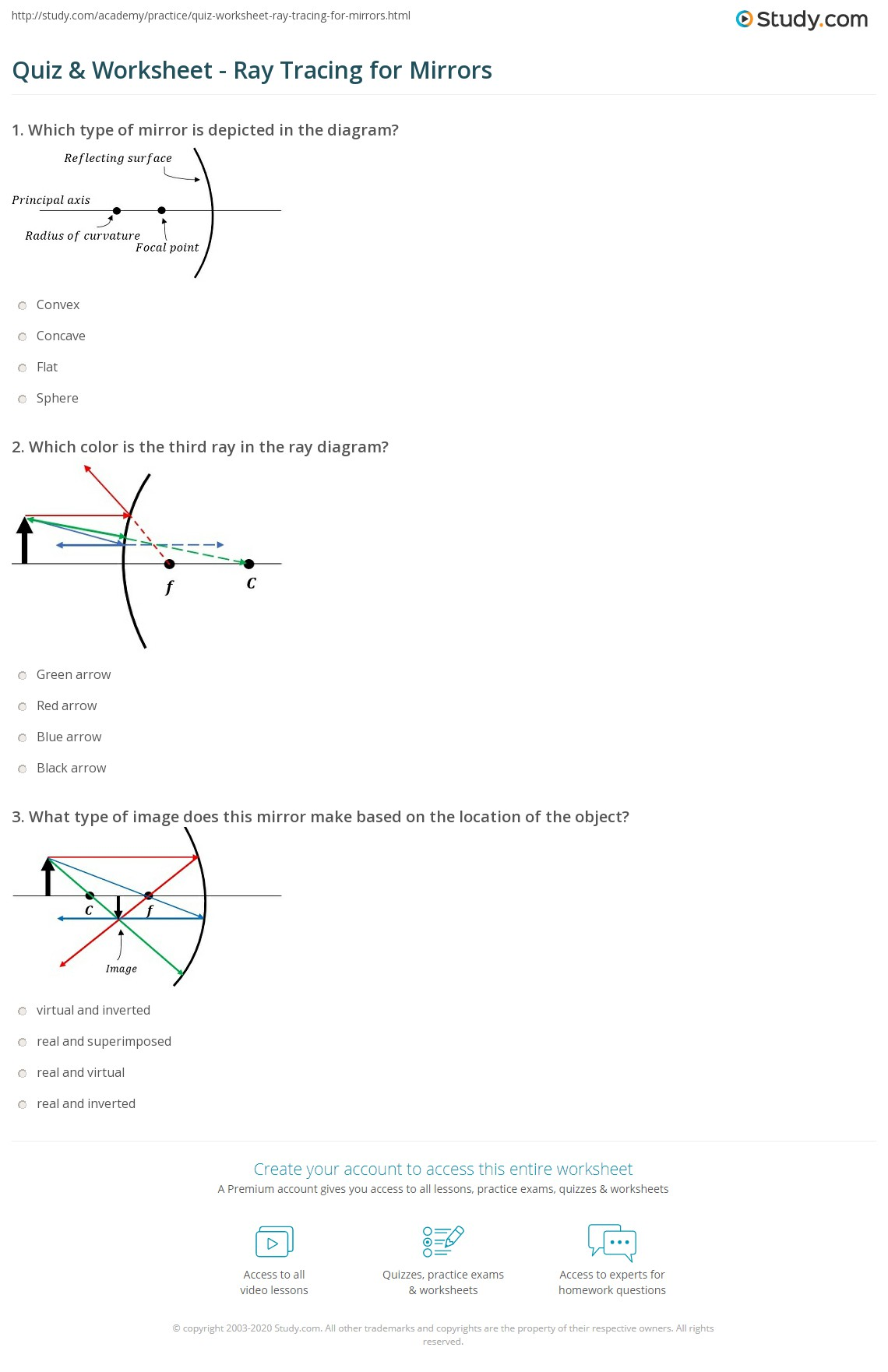 Quiz worksheet ray tracing for mirrors study print ray tracing convex concave mirrors worksheet pooptronica Choice Image