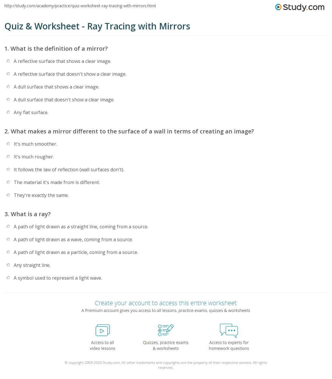 Quiz Worksheet Ray Tracing With Mirrors Study