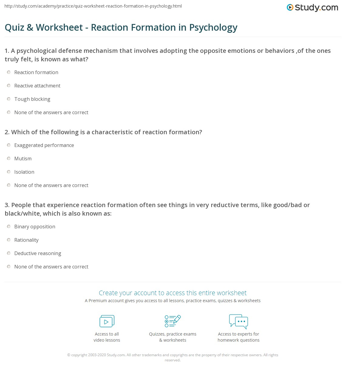Quiz Worksheet Reaction Formation In Psychology Study Com