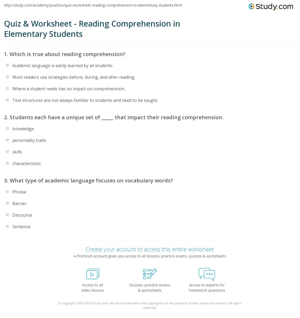 - Quiz & Worksheet - Reading Comprehension In Elementary Students