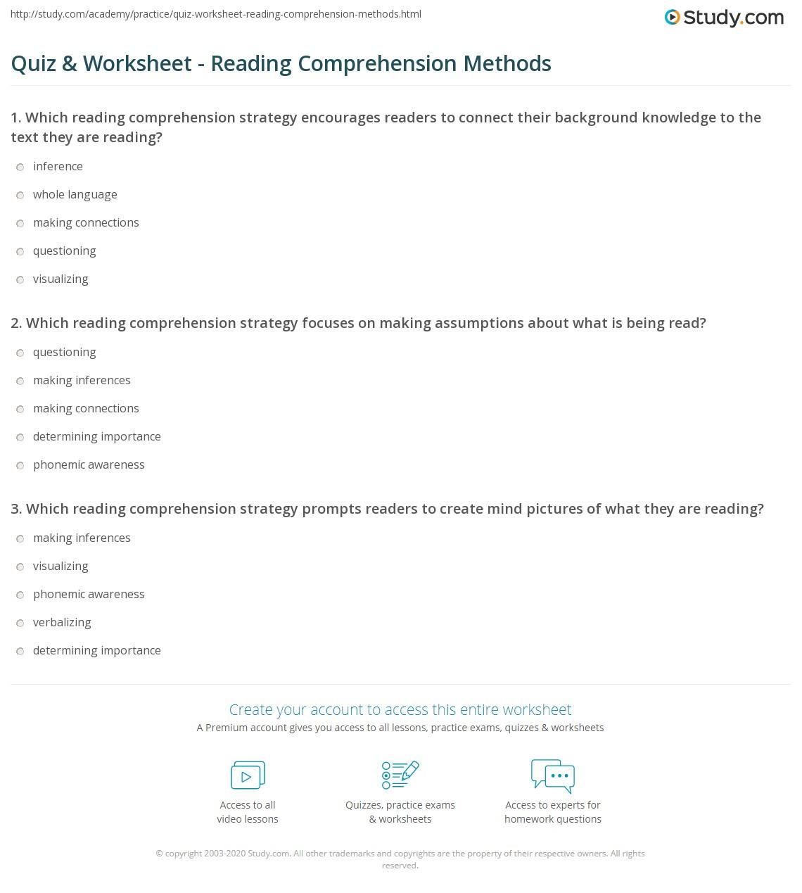 - Quiz & Worksheet - Reading Comprehension Methods Study.com