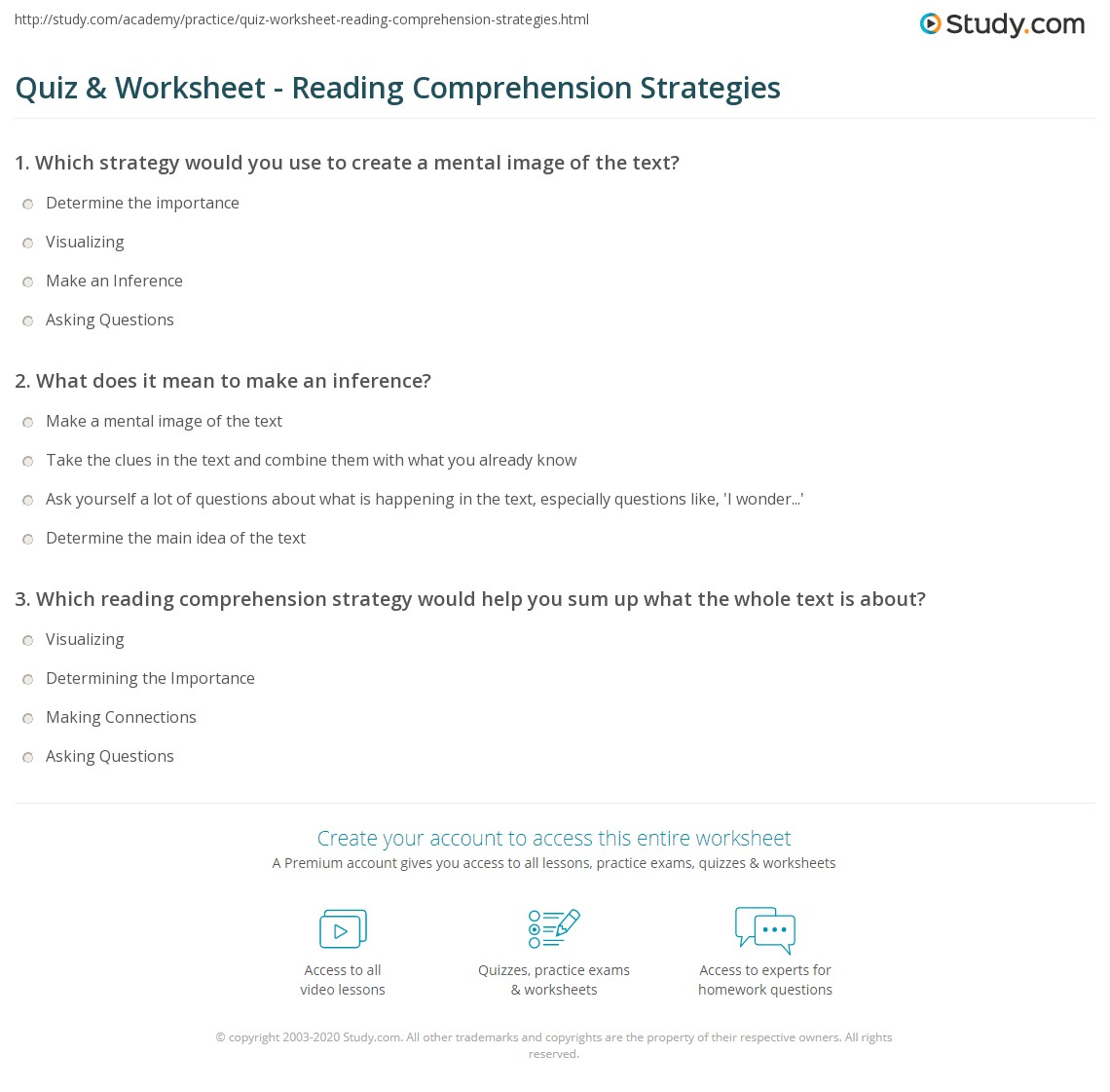 Worksheets Reading Comprehension Strategies Worksheets quiz worksheet reading comprehension strategies study com print for worksheet