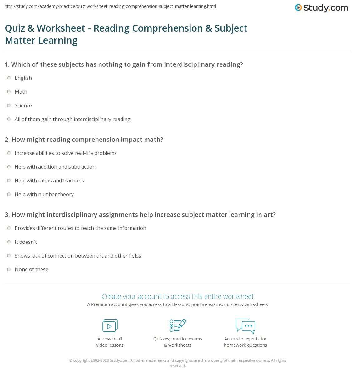 quiz worksheet reading comprehension subject matter learning