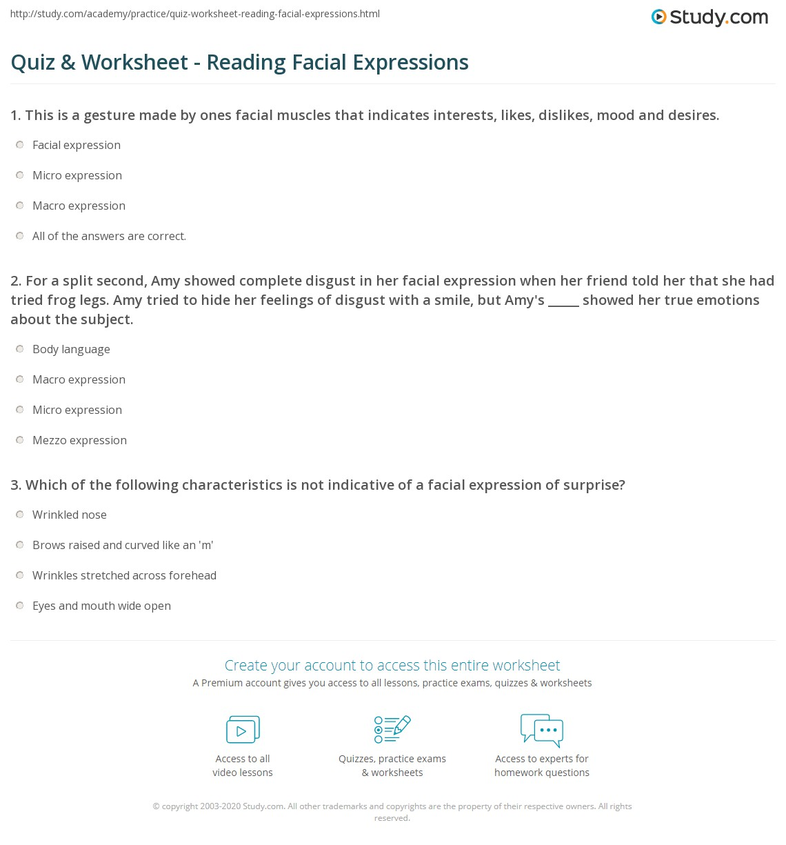 quiz worksheet reading facial expressions. Black Bedroom Furniture Sets. Home Design Ideas