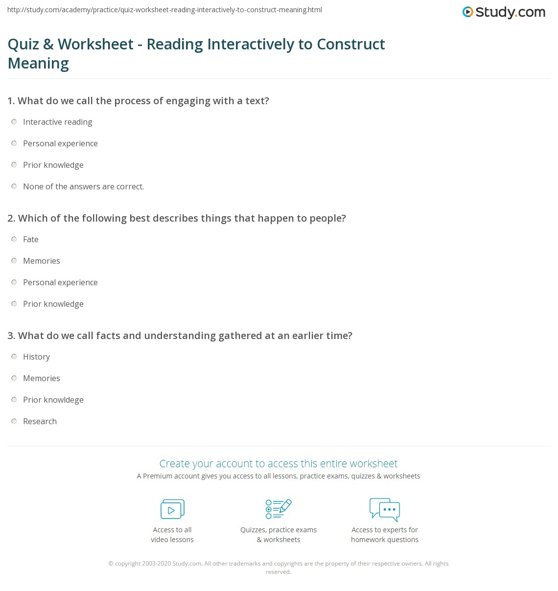 Quiz & Worksheet - Reading Interactively to Construct ...