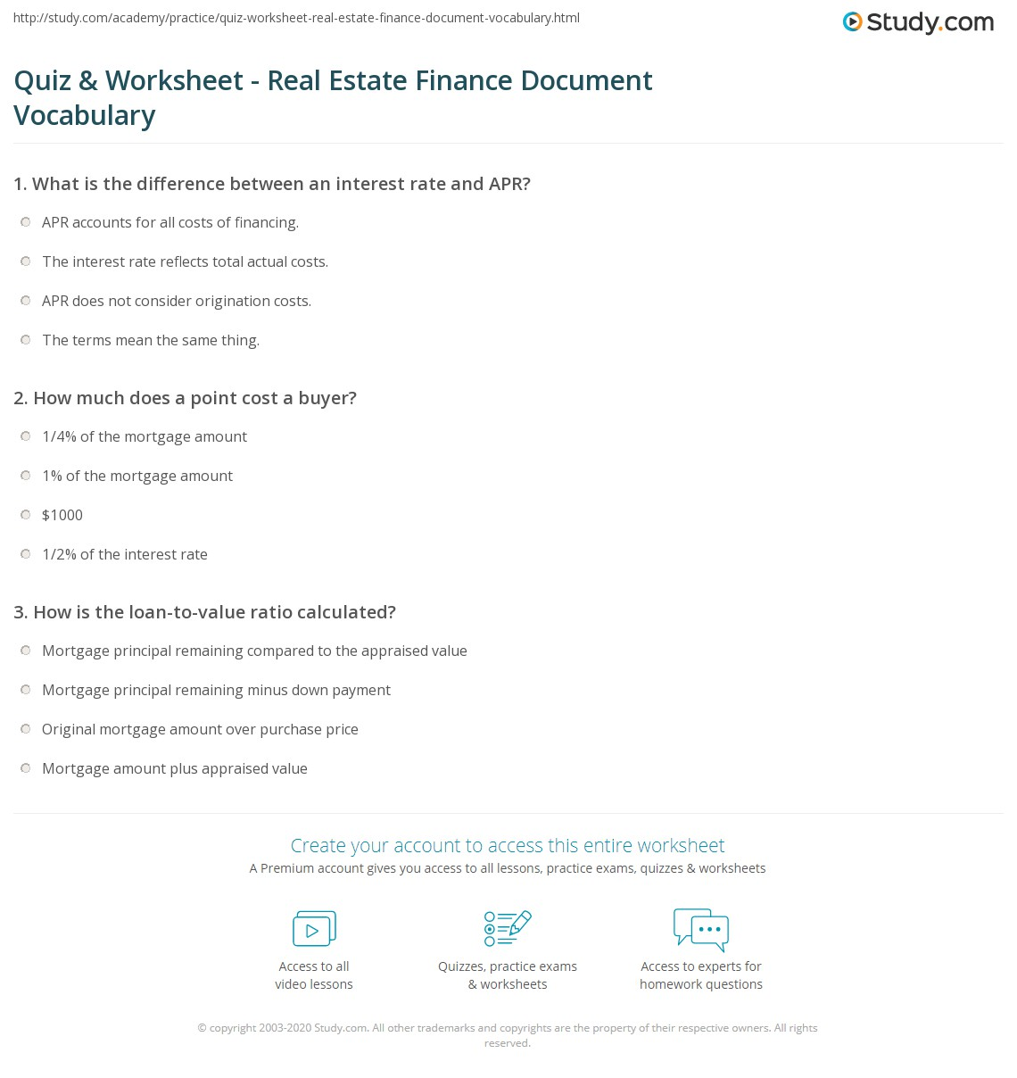 Quiz & Worksheet - Real Estate Finance Document Vocabulary ...