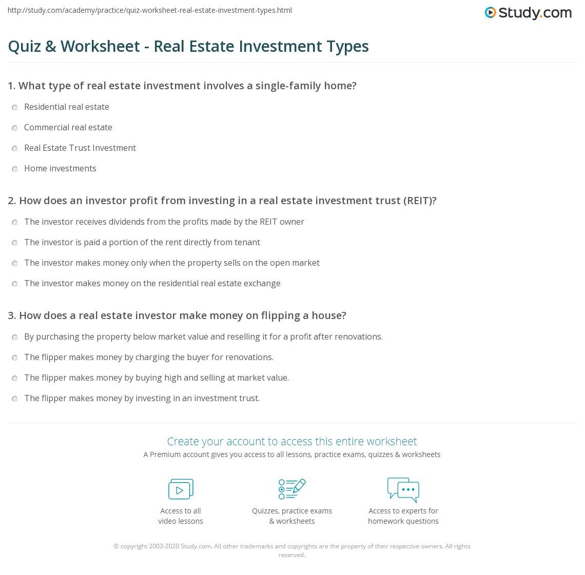 Worksheets Real Estate Investment Worksheet quiz worksheet real estate investment types study com print of investments worksheet