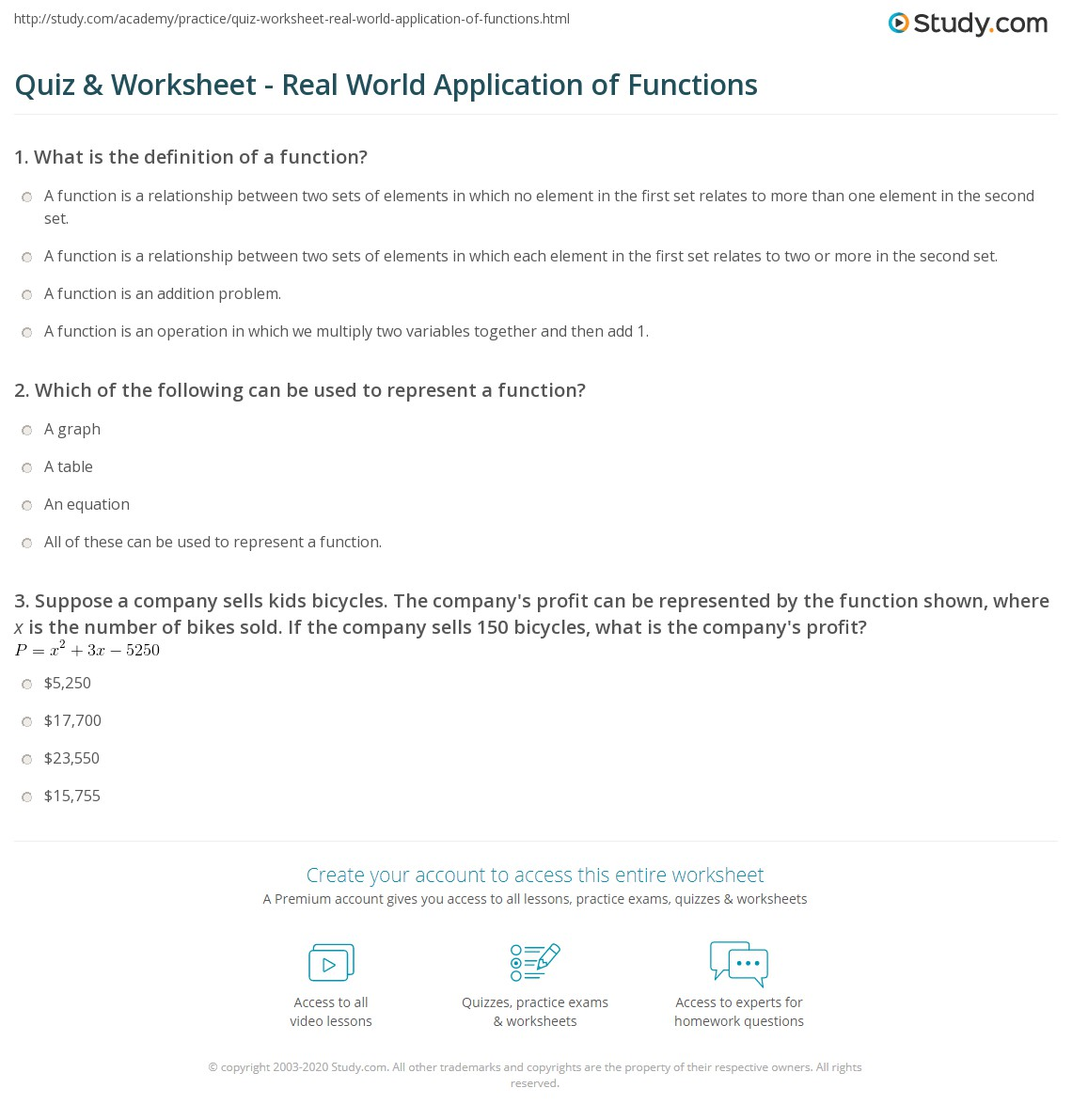 quiz & worksheet - real world application of functions | study