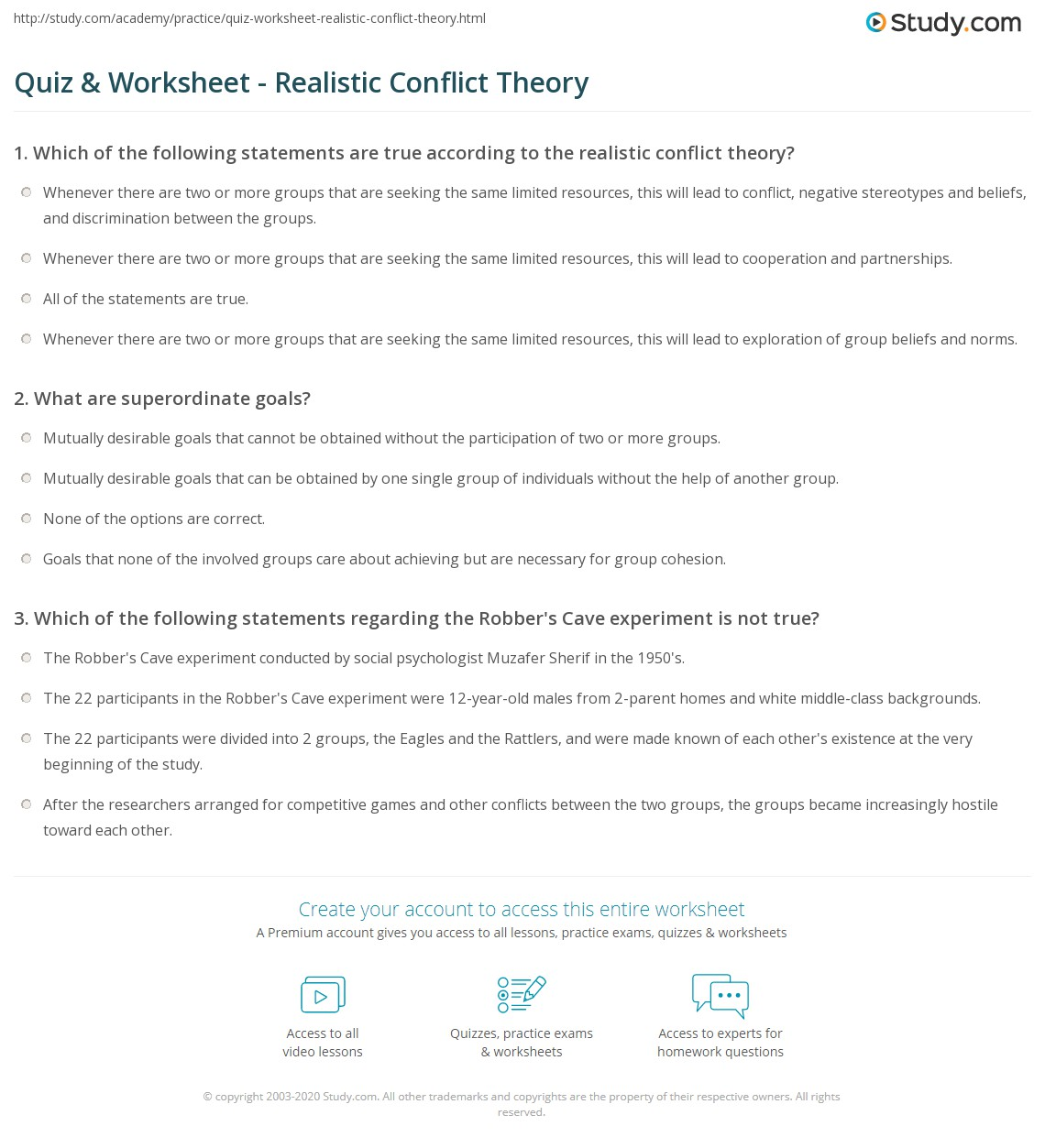 worksheet Conflict Worksheet quiz worksheet realistic conflict theory study com print definition example worksheet