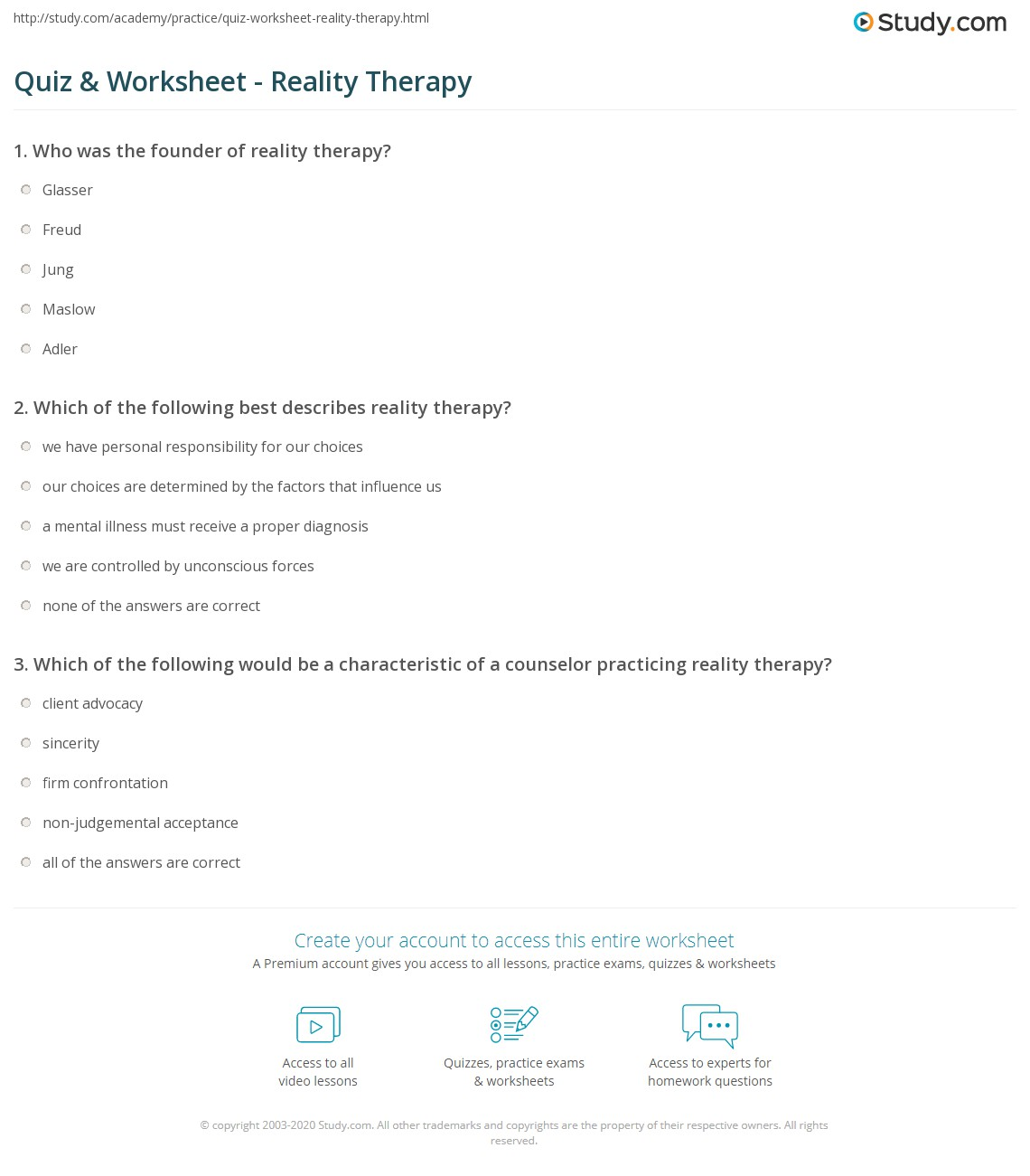 Quiz Worksheet Reality Therapy Study Com