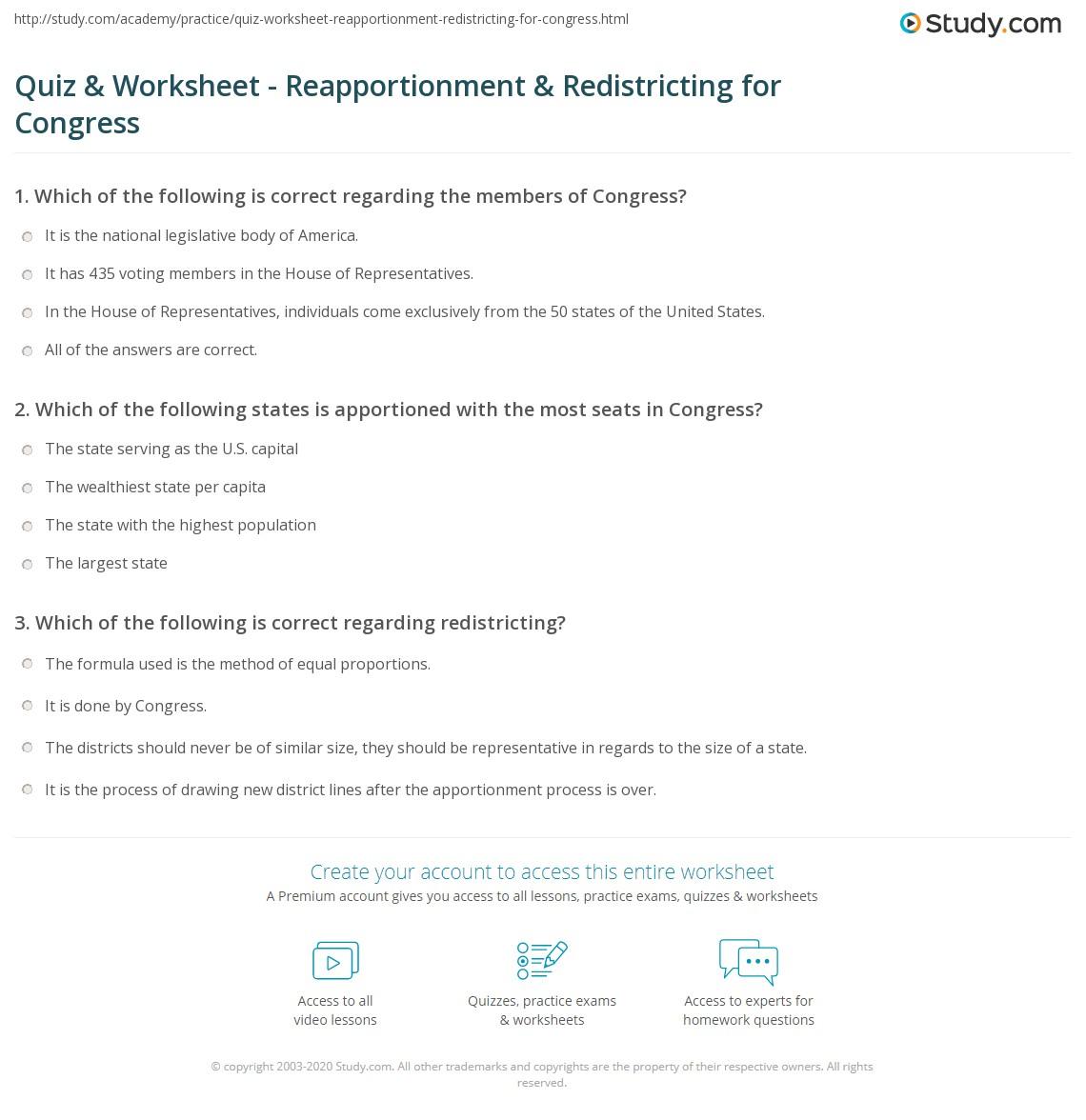Quiz Worksheet Reapportionment Redistricting for Congress – Gerrymandering Worksheet