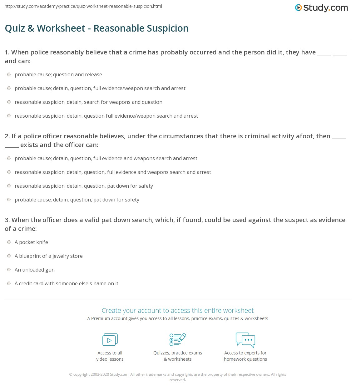 quiz worksheet reasonable suspicion study com
