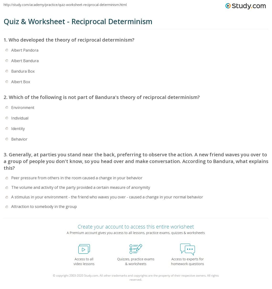Quiz amp Worksheet Reciprocal Determinism Studycom Quiz Worksheet Reciprocal Determinism Quiz Worksheet Reciprocal Determinism